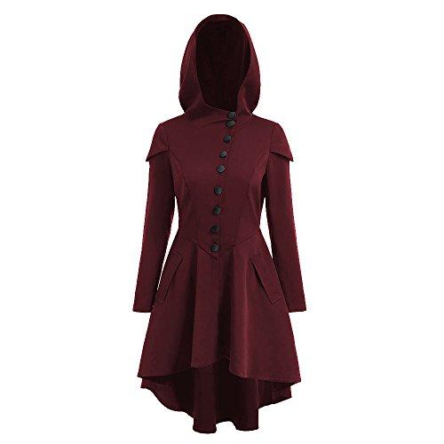 Shujin Damen Herbst Winter Vintage Kapuzenmantel Gotik Asymmetrischer Saum Mantel Lace Up Slim High Low Hoodie Outwear Trenchcoat (Vintage Mantel)