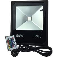 [Patrocinado]Foco LED RGB 50W, Luces Regulable de 4 modos y 16 colores, Proyector de exterior IP65 Impermeable, Luz con mando a distancia, Lampara de Jardin , Decoración de Interior Fiesta y Bodas