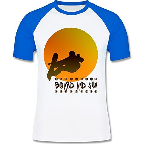 Après Ski - Board and Sun - zweifarbiges Baseballshirt für Männer Weiß/Royalblau