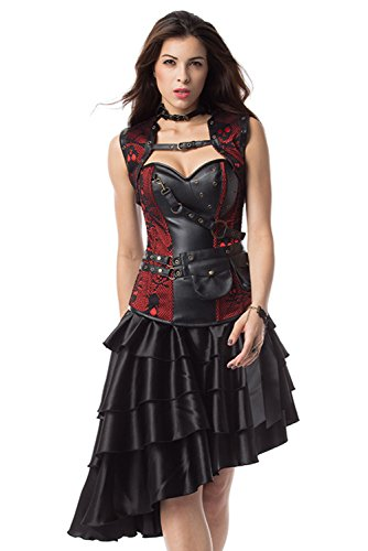 Damen Retro Vintage Gothic Steampunk Röcke Halloween Party Erwachsene Lady Kleid Piraten Damen ()