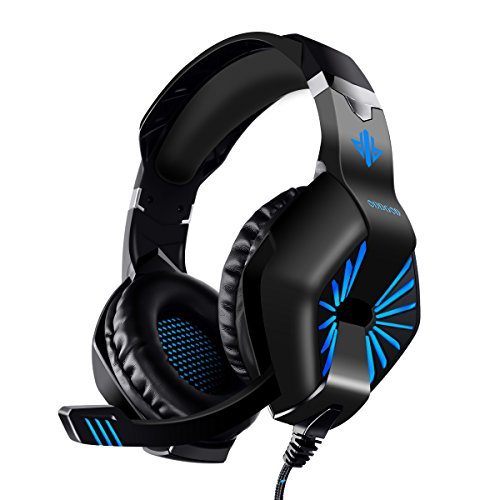 Gaming Headset, ELEGIANT Gaming Kopfhörer Bügelkopfhörer Over Ear Headphone LED Light Bass Stereo mit drehbarem Mikrofon reiner Surround Tonqualität 3.5MM Klinke für Pro PS4 Xbox One Switch PC Computer Laptop Tablet Mac Handys Smartphone