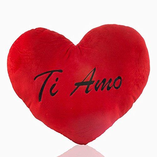 Eurowebb cuscino cuore rosso peluche gigante ti amo–cuscino xxl amore love e san valentino 65x 52x 6cm