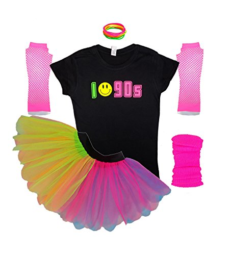 Honey B's I Love 90s Neon Rainbow Tutu Skirt, Shirt Fancy Dress. S to 3XL