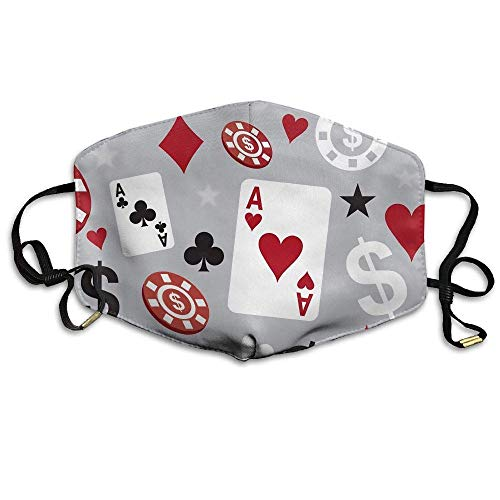 Aeykis Illustratie Poker Casino Naadloze Patroon Face Mouth Mask Unisex Polyester Comfy Anti Dust Masks
