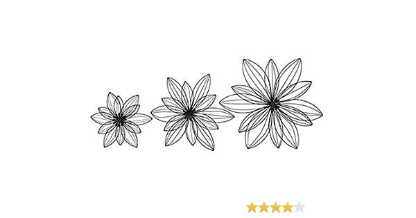 Wanddekor Blüte Metall Schwarz D = 44 cm Dekoration Wandbild