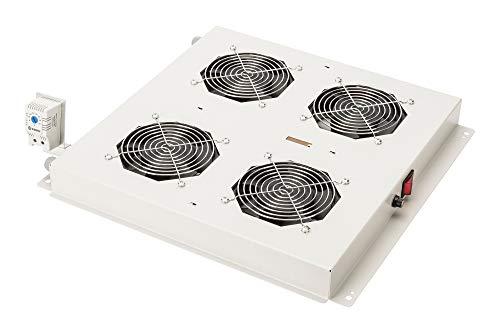 Fan 4 (DIGITUS Dachlüftereinheit für Netzwerkschrank (Dynamic Basic / Unique) & Serverschrank (Dynamic Basic), 4x Lüfter, Thermostat, Grau (RAL 7035))