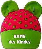KLEINER FRATZ Baby Ohren Mütze Sternchen (Farbe pink-lime) (Gr. 2 (74-98) mit Namen Ihres Kindes