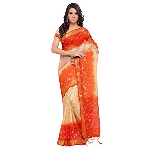 Rajnandini Women's Kota Silk Cotton Bandhani Printed Saree(JOPLSRS1024M_Orange & Cream_Free Size)