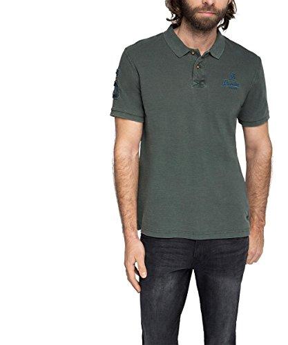 ESPRIT Herren Poloshirt 026ee2k033-mit Applikationen-Regular Fit Grau (GUNMETAL 015)