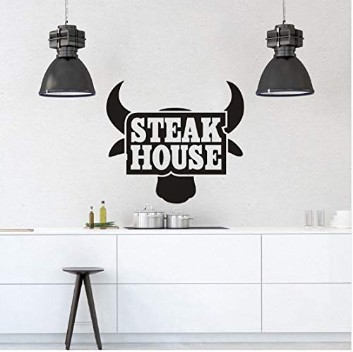 Restaurant Küche Vinyl Wandaufkleber Steak House Logo Kunst Aufkleber Removable Beef Steak Fenster Poster Bull Tapete 42x38 cm Logo Steak