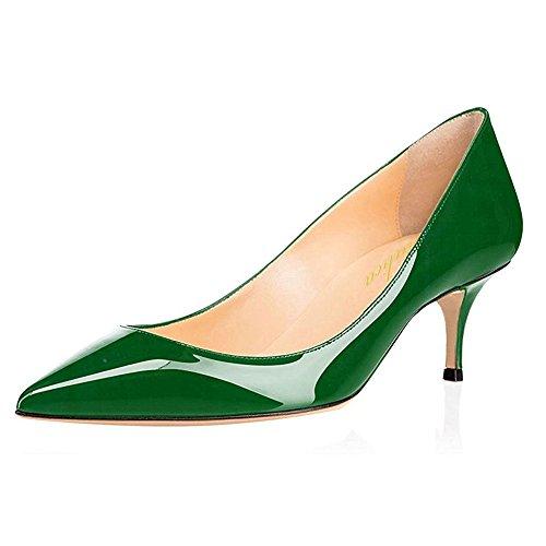 Lutalica Frauen Lackleder Spitzschuh Kitten Heel Hochzeit Kleid Schuhe Büro Pumps Schuhe Grün Größe 40 EU (Kleid Schuhe High Womens Heels)