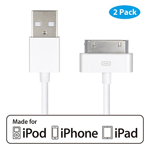 HQTech 2-Pack USB Sync and Charging Cable Compatible for iPhone 4/4s, iPhone 3G/3GS, iPad 1/2/3, iPod - 3.2 Feet 1 Meter - 6242