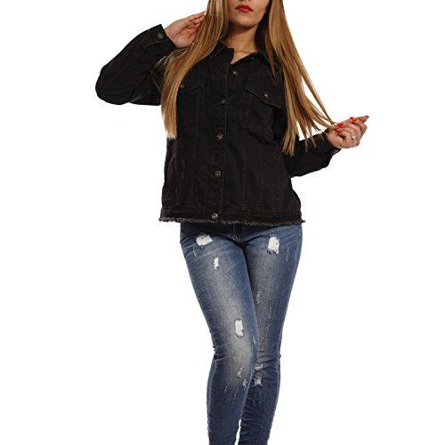 Jeansjacke für Damen mit Destroyer & Fransen Kurzjacke mit figurbetontem und modernem Schnitt , Farbe:Schwarz, Größe:M/38