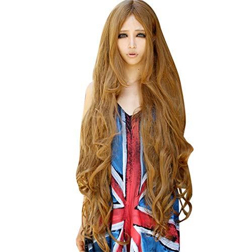 Perruque Femme naturelle, feiXIANG femmes haute qualité Perruque Pour femmes Perruque Cheveux ondulés Extensions de cheveux Long Complète bouclé ondulé Chaleur resistant Synthetique 100CM