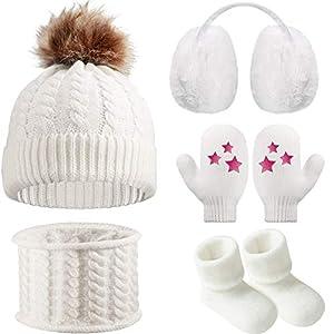 Gorro Bufanda de Invierno de Bebé Orejeras Mitones Calcetines de Niños Pequeños, Conjunto Caliente de Invierno de Bebé 5… 6