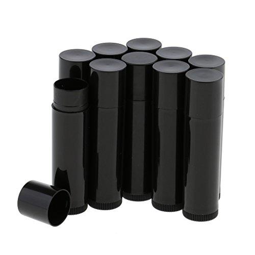 MagiDeal Kit 10pcs Bouteille Cosmétique Vide Rechargeable à Lip Gloss Rouge à Lèvres Tube Contenant à Baume à Lèvres - Noir