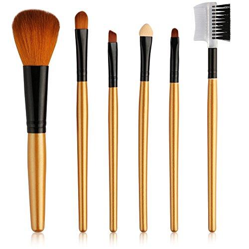Pinceaux de maquillage, 6 pièces Brosse de Maquillage Professionnel synthétique Fusion de fond de teint Concealer Eye visage liquide Poudre crème Cosmétique Pinceaux