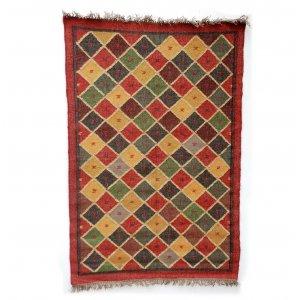 Mehrfarbig Wolle und Jute Tribal Teppiche, Deep Red Border with Warm, Earthy Diamonds, 150cm x 240cm