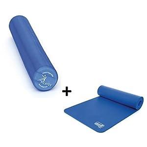 Pilates Anfänger 2er Set – Sissel Pilates Roller Pro 90 cm + Sissel Gymnastikmatte (Blau)