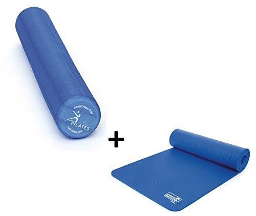 Sissel Lot de 2éléments de pilates pour débutant comprenant rouleau Pro90+tapis de gymnastique Bleu
