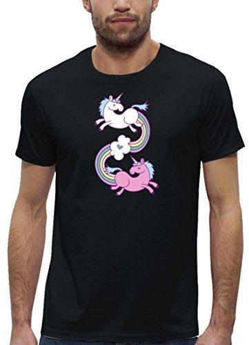 Einhorn Premium Herren T-Shirt aus Bio Baumwolle Unicorns In Love Stanley Stella Black