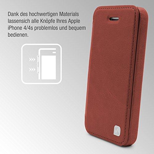 Urcover® Crystal Series Hülle   Apple iPhone 4   Rot   Zubehör Tasche Case Handy-Cover Schutz-Hülle Schale Braun