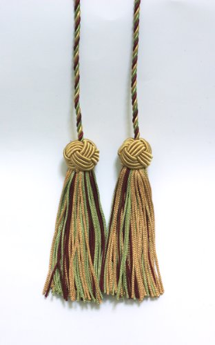 Lot de 2 Sable, Bordeaux, Vert clair double Tassel/pompon Cravate avec 9,5 cm Pompon/propagation 68,6 cm, style # Bhct, couleur : 873