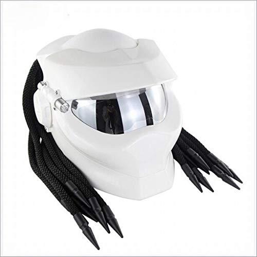 llgesichtshelme Jagged Warrior Predator Reiten Harley Scorpion Mask Cross-Country LED Light Personality Helm (Farbe : E, größe : L) ()