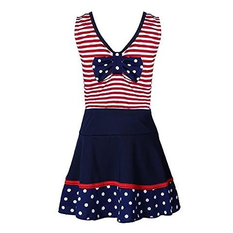 YiZYiF Mädchen Tankini Badeanzug Gestreift Top mit Rock Badekleid Badekleidung Set Gr. 110-116 128-140 140-152 Rot 140-152 (Herstellergröße: