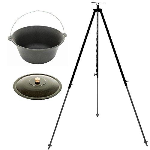 Set Feuertopf Gulaschkessel aus Gusseisen 16 Liter mit Dreibein (Kettenhöhenverstellung) und Deckel emailliert