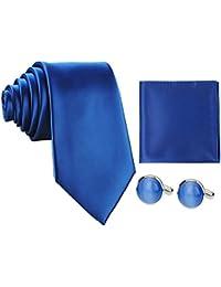 Sorella'z Mens Royal Blue Regular Broad Tie with Pocket Square
