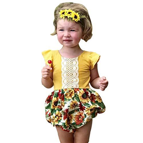 Sonnenblumen Kostüm Neugeborenen - Yogogo Unisex Ärmellos Baby Strampler Schlafanzug Spitze Jungen Jumpsuit Neugeborenen Outfit Sonnenblume Druck Mädchen Spielanzug Nachtwäsche Säugling Bodysuit Playsuits Geschenk Festlich Kostüm