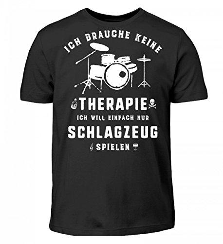 Hochwertiges Kinder T-Shirt - Schlagzeug spielen statt Therapie - Die Schlagzeug Geschenkidee ist erhältlich als Pullover, Hoodie, Schlagzeug Shirt, Musiker Tasse, Rucksack, Sweater für Damen, Herre
