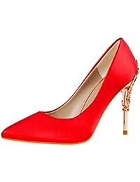 be8ca073e6d91 Damas tacón Medio Corte Zapatos Elegante Metal Tallado Tacones de Seda  sólida Punta Puntera Bombas Poco Profundas Boda Sexy…