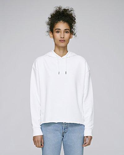 Maratus Damen Bio Crop Hoodie Kapuzenpullover Fair Wear Weiß