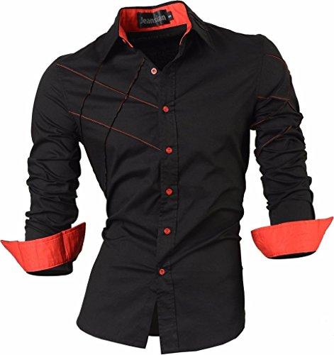 jeansian Herren Freizeit Hemden Shirt Tops Mode Langarmlig Men's Casual Dress Slim Fit 2028_Black_M -