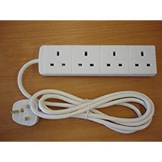 2M 4G - Two Metre (2 Meter) Four Way (4 Gang) Extension Lead. WHITE Colour. 13A 240V 3kW. UK 3-Pin plug and sockets. Top Quality mains electrical cable electric power cord.