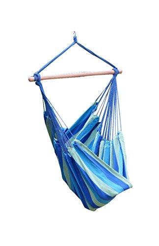Lumaland Hängesessel - Hängestuhl Regenbogen mit Querholz blau
