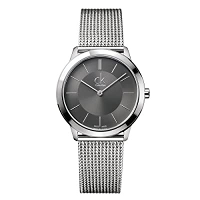 Calvin Klein K3M22124 - Reloj analógico de cuarzo para mujer con correa de acero inoxidable, color plateado de Calvin Klein