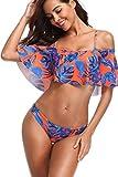 MEMORY BABY Donna Sexy Vita Alta Balze Capestro Bikini Set Due Pezzi Costumi da Bagno (Blu/Arancione,S/EU36-38)