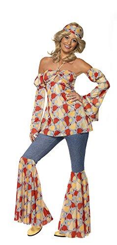1970er Retro Kostüm Hemd und Patchwork-Denim-Hose, Large - 3