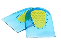Cool Blue Neon Heel Pads for Ankle Heel Pain Spur Pain with special shock-absorbing center pad. Universal size. One size fits all. One Pair