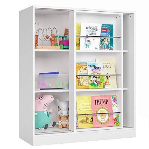 Homfa Bücherregal Regal mit Schiebetüren Standregal Raumteiler Kommde Schrank Sideboard weiß 105x37x90cm