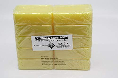 Set Wasserrose 10x150g =1,5 kg ZITRONENKERNSEIFE + 1x100g REINE KERNSEIFE - MADE IN GERMANY ; EDTA-FREI DIY -