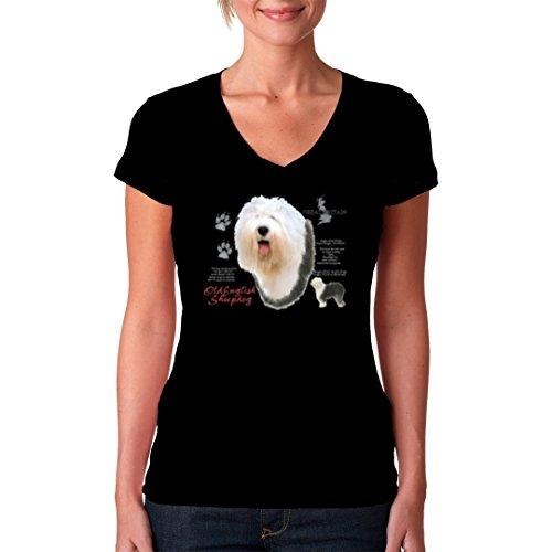 ImShirt Bobtail, Altenglischer Schäferhund, Old English Sheepdog cooles Fun  Girlie Shirt verschiedene Farben Schwarz