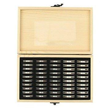 Generic Holz Münzen Display Aufbewahrungsbox für Platte zertifiziert Münze mit 50Kapseln (Platte-aufbewahrungsbox)