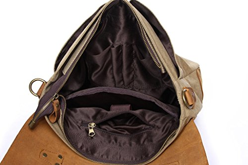 Super modernes Herren Canvas Schultertasche Leder Messenger Aktentasche British Style Retro Casual Leinwand Cross Body Messenger Traval Schultertasche khaki