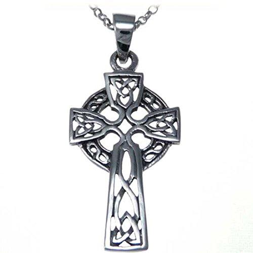 Ciondolo celtico a croce argento sterling con collana 46cm