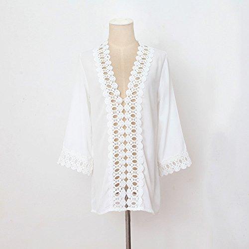 Culater® Robe de Soirée en Mousseline de soie pour Femme Blanc