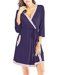 2a68ce938fc1d3 ZHENWEI Damen Morgenmantel Baumwolle Nachtwäsche Nachthemd Kimono Kurz Robe  Bademantel Für Frauen Saunamantel V…